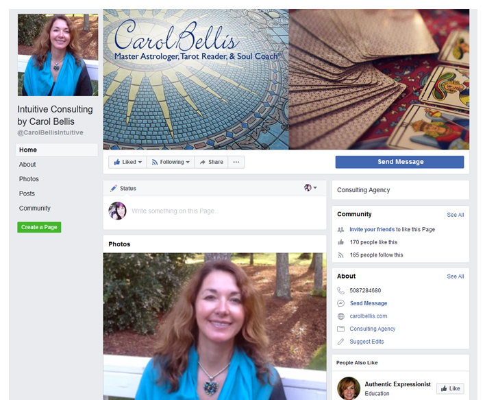 Facebook Page for Carol Bellis Astrologer